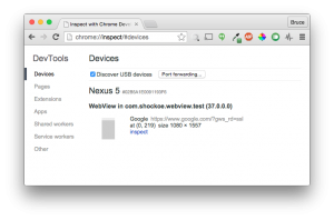 The Chrome developer tools device perspective