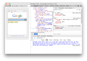 The Chrome Developer Tools inspector with on-device preview