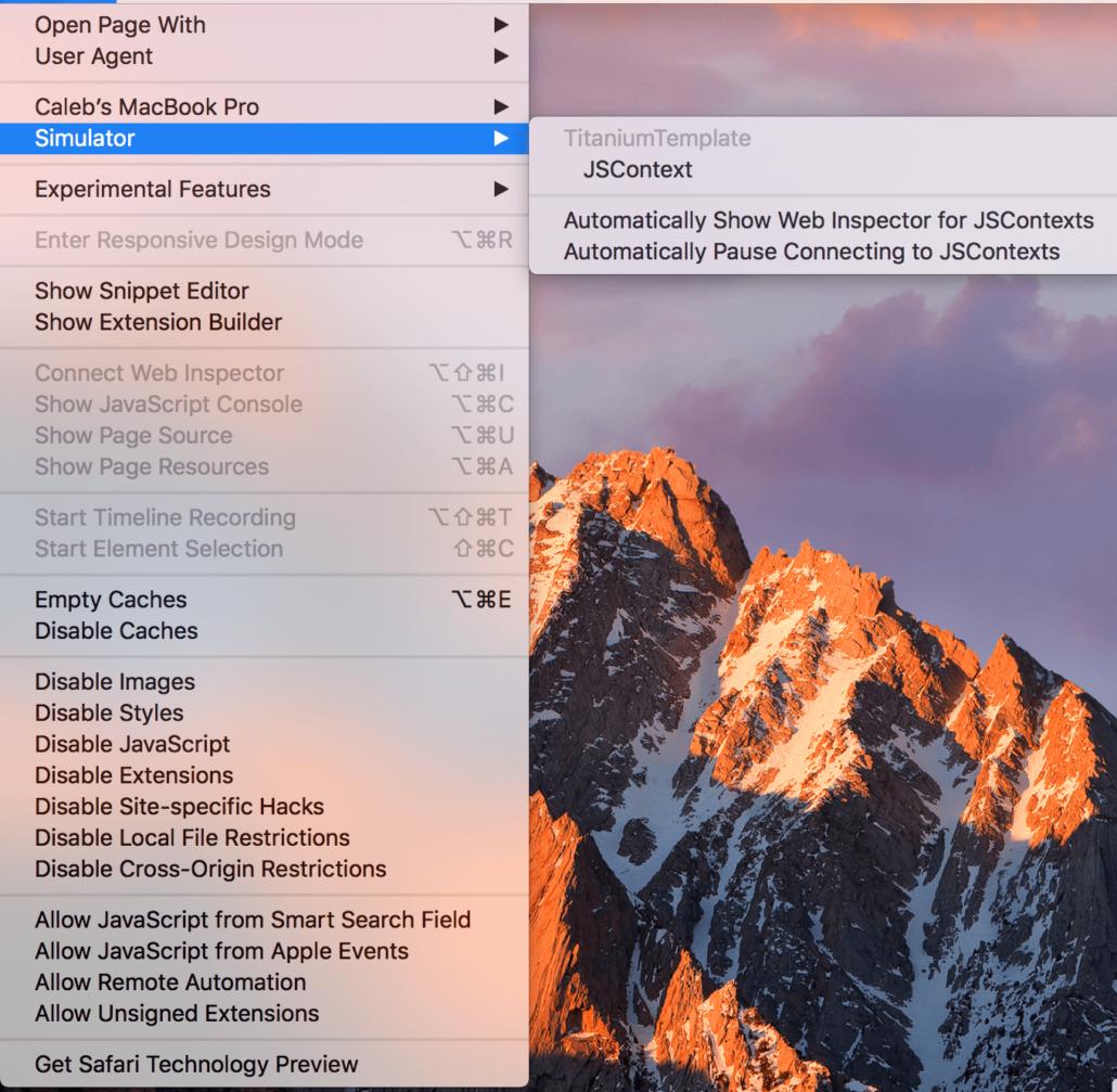 Debugging Titanium Applications using Safari Web Inspector | SHOCKOE