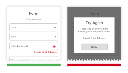 User real-time validations on field entries baking app