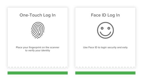 Biometric login in banking app