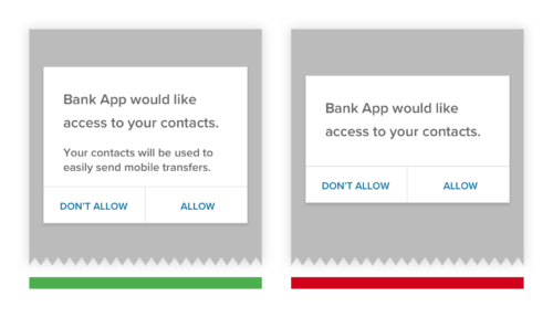 privacy policies in context in banking app