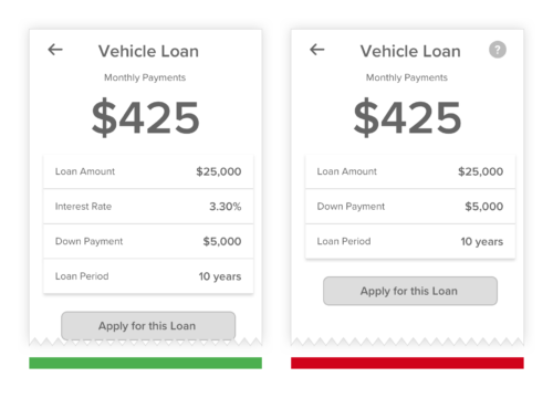 customer first mobile banking app showing loan amount