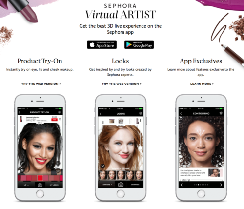 sephora brand virtual artist customer and brand loyalty app